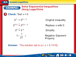 15 solve exponential inequalities using logarithms