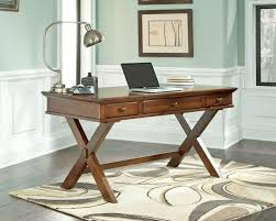 Oak Wood With X Legs Office Desk Design For Your Home