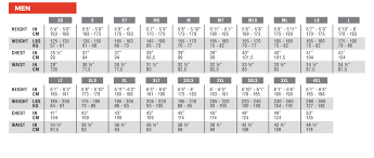 Men Size Guide Xcel Wetsuits Europe