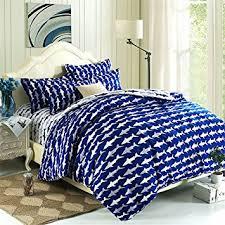 Amazon.com: EsyDream Home Bedding,Ocean Shark Design Kids Duvet ... & EsyDream Home Bedding,Ocean Shark Design Kids Duvet Cover Sets,Queen Twin  Size Shark Adamdwight.com