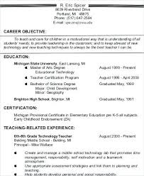 Resume Mission Statement Impressive Resume Objective Teacher Kenicandlecomfortzone