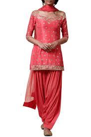 Off Shoulder Designer Suits Pink Georgette Off Shoulder Designer Salwar Suit