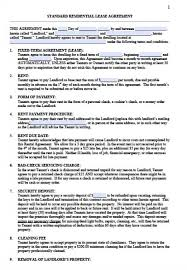 Simple Rental Lease Agreement Free Standard Residential Lease Agreement Templates Pdf Word