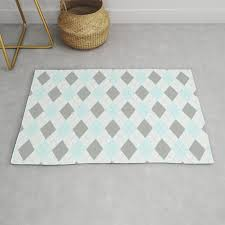light blue gray diamond plaid pattern rug