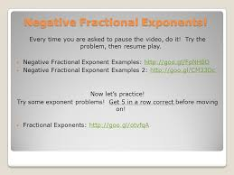 6 negative fractional exponents