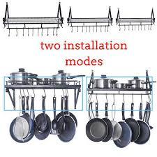 wall mounted black iron hanging pan pot