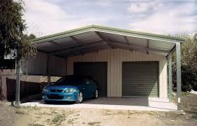suburban 6 double garage with carport twin doors front view