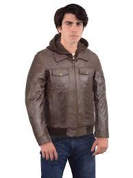 black rivet black rivet men s brown leather hooded er jacket com