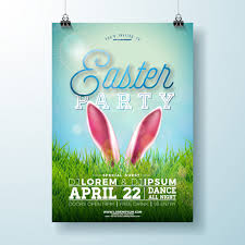 Vector Easter Party Flyer Illustration With Rabbit Ears