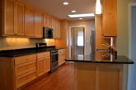 Kitchens With Black Granite Rectangle Teak Wood Stained Kitchen Islands White Marble Counter