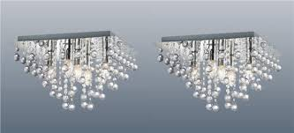 pair of square 5 light chrome ceiling lights flush crystal droplet chandeliers