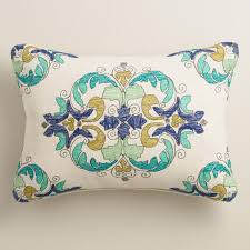 White Cruz Embroidered Outdoor Lumbar Pillow