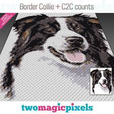 Border Collie Knitting Chart C2c Border Collie Crochet Graph Row By Row Counts Instant Pdf Download