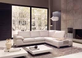 Low Living Room Furniture Living Room Large Glass Windows White Drum Lamp L Shape Sofa