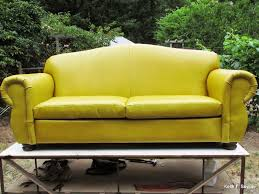 yellow leather loveseat