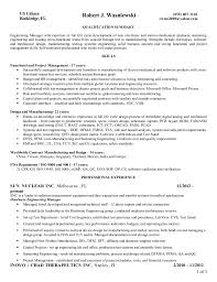 Project Manager Resume Summary Simple Resume Wasniewski R Engineering Manager