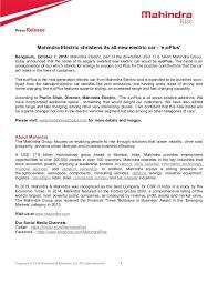 new car release october 2013Mahindra e2o Plus Name Reveal  Press Release