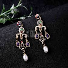 unique multi colored chandelier earrings fashion resin acrylic pearl vintage earrings