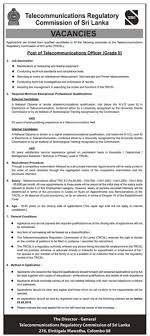 Telecommunications Officer At Trcsl Government Jobs Government