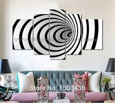 hand painted black and white painting canvas modern 3d 5 piece 3d wall painting black and