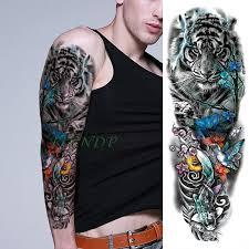 Vodotěsný Dočasné Tetování Nálepka Tygr Barevné Květinové Pták