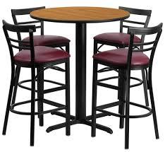 36round natural pubtable 4 ladderback barstools burgvinyl jpg 36 round bar table set