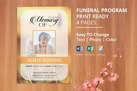 Printable Funeral Program Template Obituary By Easyfuneral On Etsy