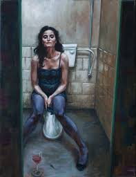 saatchi art artist rogier willems painting toilet with girl drinking wine