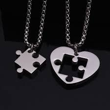 jigsaw puzzle heart pendant couple
