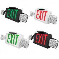 Best Lighting Ledcxteu Combo Led Exit Sign And Emergency Light Choose White Or Black Housing Color With Red Or Green Lettering With 90 Minute Battery Back Up