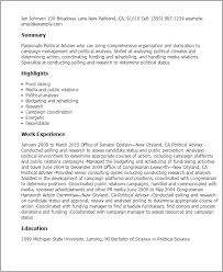 Resume Templates: Political Adviser
