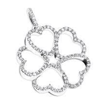 14k gold multi heart diamond pendant for women flower design 0 35ct white image