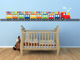zoom on baby boy nursery wall art stickers with train wall decal alphabet decal abc wall decal