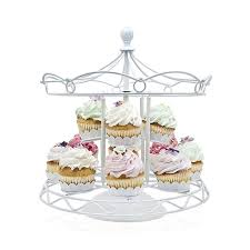Carousel Display Stand Delectable 32 Carousel Cupcake Stand Holder White Iron Two Tiers 32 Cup Cake