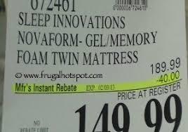 mattress in costco. costco mattresses luxury deal sleep innovations novaform gel memory foam twin mattress in t