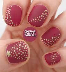christmas nail art stunning dotted christmas tree motif with star and gold color on matte red nails idea cute christmas nails