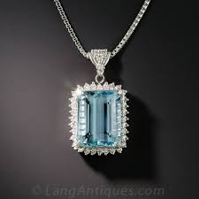 platinum aquamarine and diamond pendant necklace previous to enlarge photo