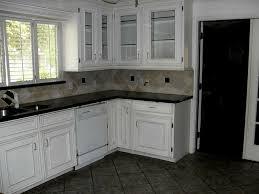 White Kitchen Dark Floors Tile Floor Kitchen White Cabinets Cozy Laminate Tile Flooring