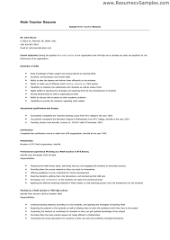 Math Teacher Resume Resume Template Ideas