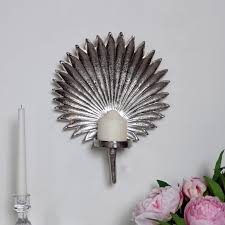 silver leaf wall mounted candle sconce