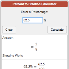 Fraction To Percentage Chart Percent To Fraction Calculator