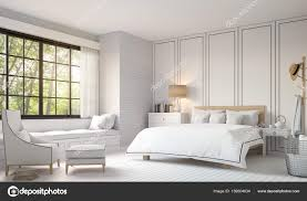 Modern Vintage Bedroom With Black And White 3d Rendering Image U2014 Stock Photo