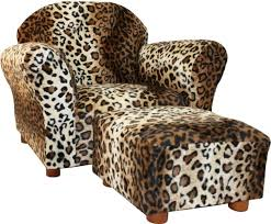 accent arm chair with ottoman. leopard print chair with back and ottoman using brown wwooden leg accent arm