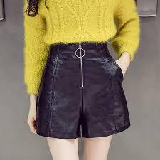2019 pu faux leather shorts women spring summer high waist wide leg short femme plus size zipper pockets black short pants