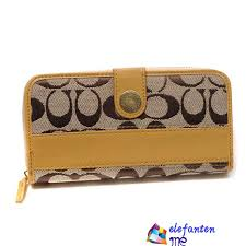 Coach Signature Large Wallets Yellow In