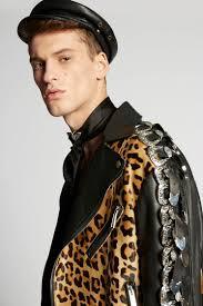 dsquared2 leopard leather buckle jacket kaban man