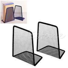 1 pair metal mesh black desk organizer desktop office home bookends book holder