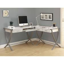 Furniture: Appealing White Computer Corner Desk Design - White Corner Desk  With Shelves