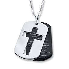 men s necklace lord s prayer dog tag stainless steel