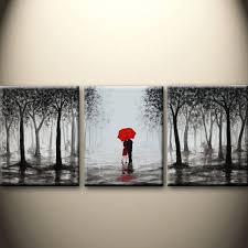 large abstract painting original acrylic wall art made to order kissing in rain black white red love couple 48x20inch great wedding gift